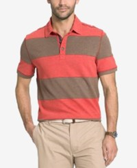 G.H. Bass And Co. Big And Tall Rugby Striped Polo Tandori Spice