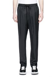3.1 Phillip Lim Stripe Drawstring Waist Tapered Lounge Pants Black