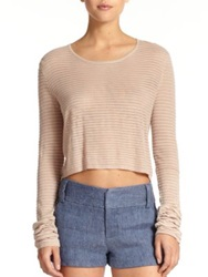 Alice Olivia Cropped Cashmere Blend Fine Knit Sweater Tan