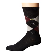 Lacoste Argyle Sock Black Silver Chine Vendange White Men's Quarter Length Socks Shoes