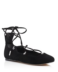 Sigerson Morrison Elias Lace Up Ballet Flats Black
