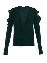 Fendi Ruffle Trimmed Silk Crepe Blouse Green