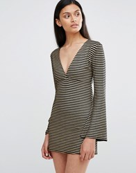 Love Plunge Neck Bell Sleeve Dress In Stripe Black Gold