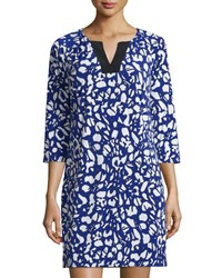 Laundry By Shelli Segal 3 4 Sleeve Printed Jersey Dress Jubilee Blue