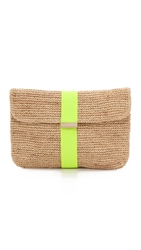 Bop Basics Neon Stripe Raffia Clutch Neon Yellow