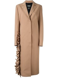 Msgm Ruffle Detail Coat Nude And Neutrals
