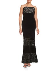 Calvin Klein Sequined Lace Strapless Gown Black