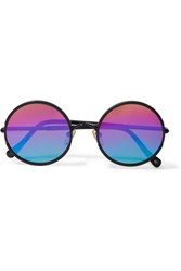 Sunday Somewhere Yetti Round Frame Matte Acetate Mirrored Sunglasses Black