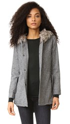 Cupcakes And Cashmere Audry Anorak Coat With Faux Fur Black
