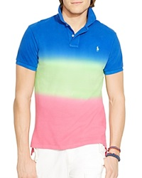 Ralph Lauren Custom Fit Dip Dyed Polo Shirt Slim Fit Cruise Royal Multi