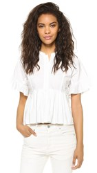 Rebecca Taylor Short Sleeve Poplin Top Snow