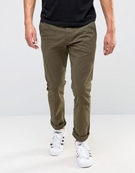 Esprit Slim Fit Chino In Brushed Cotton Khaki 355 Green