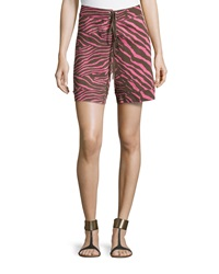 M Missoni Knit Animal Print Shorts Pink Brown