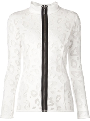 Anthony Vaccarello Embroidered Zipped Top White