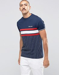 Ellesse Striped T Shirt Navy