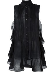 Maison Martin Margiela Mm6 Sleeveless Ruffled Sheer Blouse Black