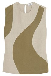 Alexander Lewis Toleda Two Tone Linen Top Gray