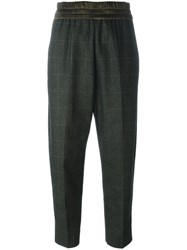 Antonio Marras Plaid Tapered Cropped Trousers Green