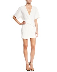 Halston Short Dolman Sleeve Deep V Neck Wrap Dress Chalk