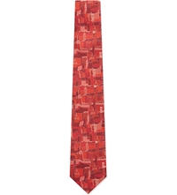 Salvatore Ferragamo Etched Florence Silk Tie Red