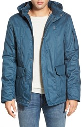 Men's Hoodlamb '4 20' Water Resistant Hemp And Organic Cotton Jacket With Faux Fur Lining Denim Blue