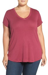 Sejour Plus Size Women's Short Sleeve V Neck Tee Burgundy Beauty