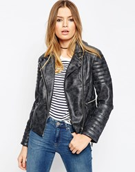 Asos Biker Jacket In Washed Pu Charcoal Grey