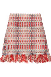 Tory Burch Tara Fringed Metallic Tweed Skirt Red Sky Blue