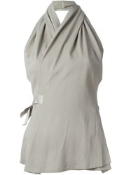 Rick Owens Wrap Style Halter Top Nude And Neutrals