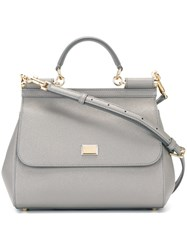 Dolce And Gabbana Medium 'Sicily' Tote Grey