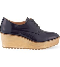 Whistles Ko Leather Flatform Derby Shoes Navy