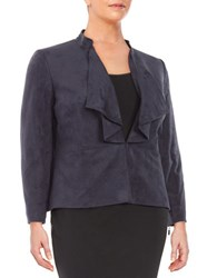 Tahari By Arthur S. Levine Plus Faux Suede Ruffle Jacket Navy