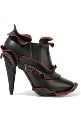 Fendi Ruffled Leather Ankle Boots Black