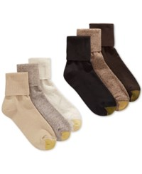 Gold Toe Women's Turn Cuff 6 Pack Socks Brown Multi Pack