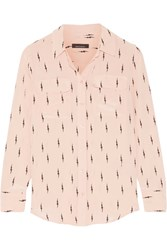 Kate Moss For Equipment Slim Signature Printed Washed Silk Shirt Blush
