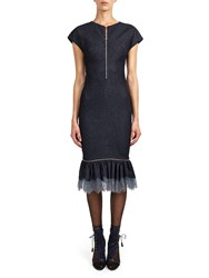 Alexis Mabille Zipped Dress In Stretch Denim With Lace Flounce Blue