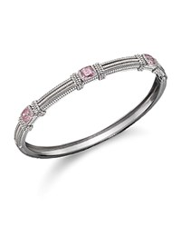 Judith Ripka 3 Cushion Stone Bangle In Pink Crystal Pink Silver