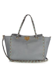 Valentino Rockstud Rolling Leather Tote Light Grey