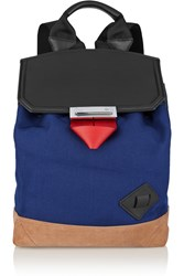 Alexander Wang Prisma Canvas And Leather Backpack Blue