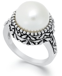 Macy's Sterling Silver Ring Cultured Freshwater Pearl Button Ring 11Mm