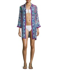 Gottex Le Jardin Printed Long Sleeve Shirtdress Coverup Multi