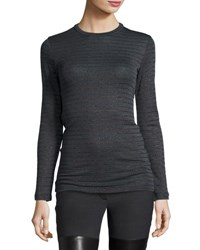 Brunello Cucinelli Long Sleeve Metallic Striped Sweater Charcoal