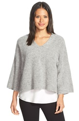 Eileen Fisher Boxy V Neck Sweater Moon