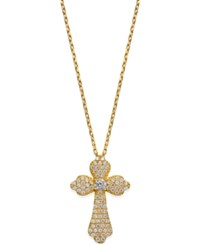 Giani Bernini Cubic Zirconia Pave Cross Pendant Necklace In 18K Gold Plated Sterling Silver Only At Macy's Yellow Gold