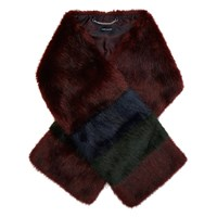 Karen Millen Colourful Faux Fur Scarf Red Multi
