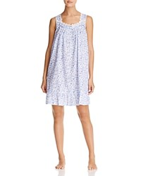 Eileen West Lawn Sleeveless Short Gown White Ground Blue Roses