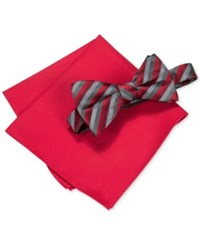 Alfani Men's Walsh Stripe Bow Tie And Pocket Square Set Only At Macy's Red
