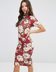 Asos Oxblood Floral T Shirt Scuba Bodycon Dress Oxblood Red