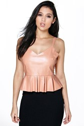 Jess Faux Leather Strappy Peplum Top