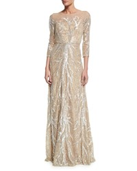 David Meister 3 4 Sleeve Illusion Neck Beaded Gown Nude Silver